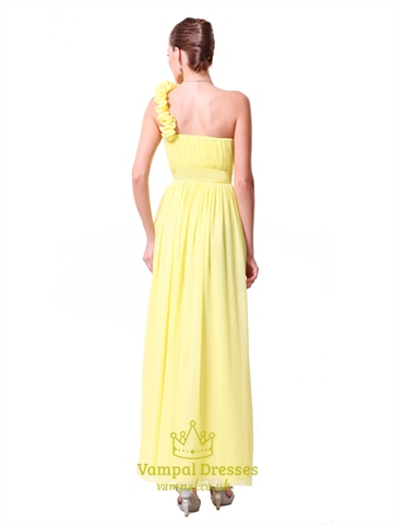 Yellow One Shoulder Bridesmaid Dresses Chiffon,Long One Shoulder Bridesmaid Dresses