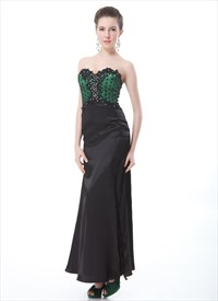 Emerald Green And Black Prom Dress,Black And Green Dress
