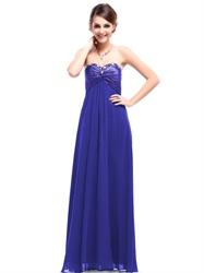 Royal Blue Bridesmaid Dresses Chiffon Long,Strapless Sweetheart Neckline Bridesmaid Dresses UK