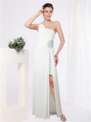 White One Shoulder Maxi Dress,Short Dress With Long Chiffon Overlay