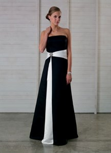 Imposing Black And White Strapless A-Line 2021 Bridesmaid Dress Prom Gown