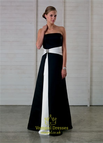 Imposing Black And White Strapless A-Line 2018 Bridesmaid Dress Prom Gown