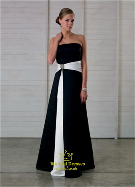 Imposing Black And White Strapless A-Line 2019 Bridesmaid Dress Prom Gown