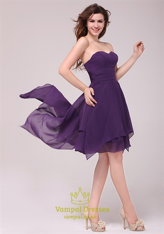 Purple Strapless High Low Cocktail Dress Formal Gown,Short Purple Sweetheart Neckline Dress
