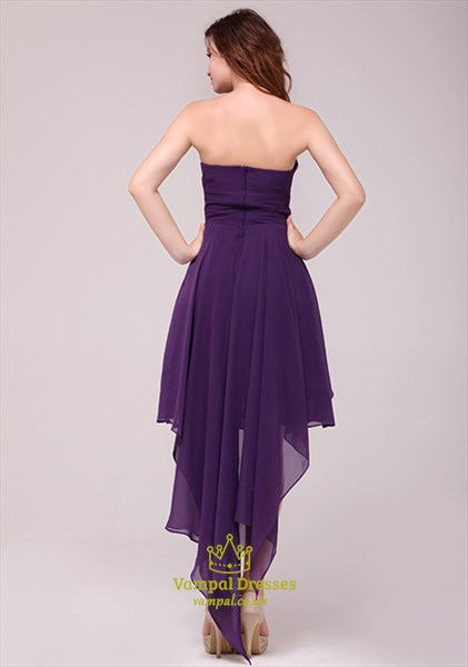 Purple Strapless High Low Cocktail Dress Formal Gown,Short Purple Sweetheart Neckline Dress