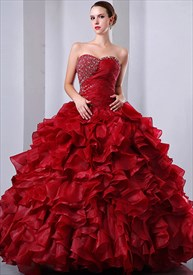 Red Quinceanera Ball Gown Wedding Dress 2020