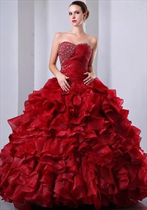 Red Quinceanera Ball Gown Wedding Dress 2021