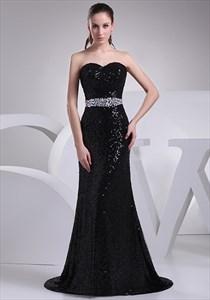 Black Sequin Mermaid Prom Dress,Long Black Sparkly Mermaid Evening Gown