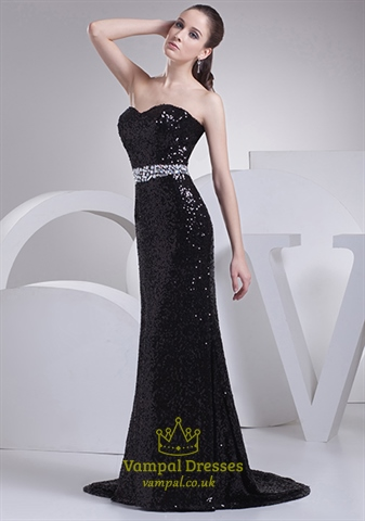 Black Sequin Mermaid Prom Dress Long Black Sparkly Mermaid