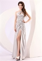 One Shoulder Prom Dress With Cutout Sides,Silver One Shoulder Evening Dresses With Slits Up The Leg