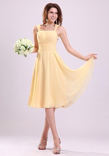 Pale Yellow Bridesmaid Dresses UK,Yellow Chiffon Bridesmaid Dresses With Straps