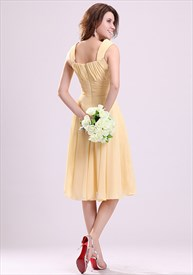Pale Yellow Bridesmaid Dresses UK,Yellow Chiffon Bridesmaid Dresses With Straps