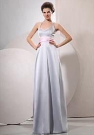 Silver Grey Halter Neck Prom Dress,Formal Prom Dresses Halter Neck