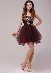 Beaded Maroon Short Cocktail Dress,Short Beaded Dress With Open Back