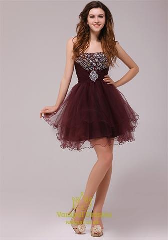 Beaded Maroon Short Cocktail Dress,Short Beaded Dress With Open Back | Vampal Dresses