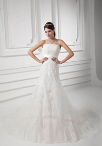 Wedding Dress With Lace Top And Tulle Skirt,Lace Wedding Gown With Open Back