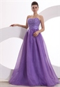 Purple Ball Gown Prom Dresses Sweetheart Neckline,Purple Prom Dress With Beaded Top