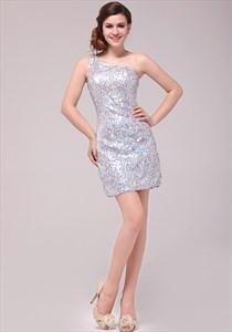 Sequin One Shoulder Cocktail Dress By Vampal,Silver Sequin One Shoulder Prom Dress