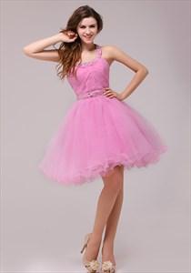 Short Pink Halter Cocktail Party Dress,Pink Cocktail Dresses Knee Length For Juniors