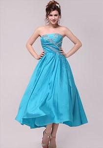 Aqua Blue Prom Dresses 2021,Light Sky Blue Strapless Prom Dress Evening Gown