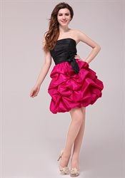 Hot Pink And Black Homecoming Cocktail Dresses,Black Top Pink Bottom Prom Dress