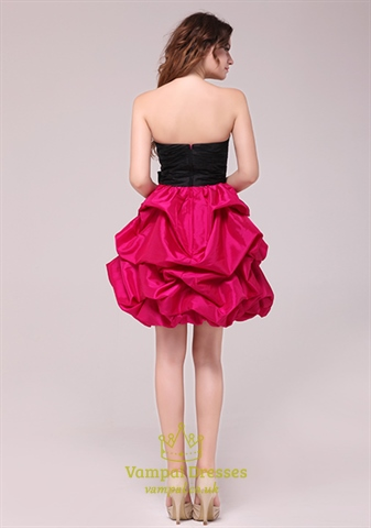 Hot Pink And Black Homecoming Cocktail Dresses Black Top