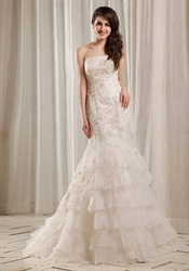 Vampal Stunning Asymmetrical Wedding Dress With Lace Flowers Overlay Online