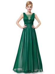 Emerald Green Chiffon Evening Dress, Lace Appliques Green V Neck Party Evening Dress