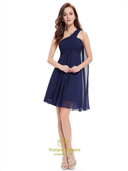 Navy Blue One Shoulder Chiffon Short Bridesmaid Dress With Watteau Train