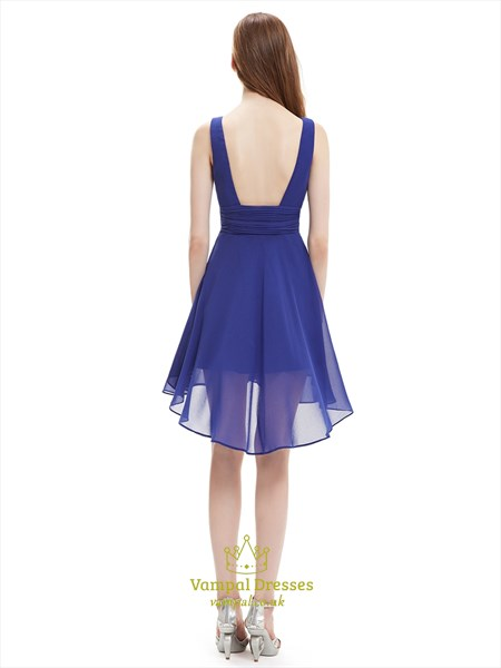 Royal Blue V Neck Asymmetrical Hem Short Chiffon Bridesmaid Dresses