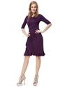 Grape Sheath Chiffon Knee Length Cocktail Dresses With Half Sleeve