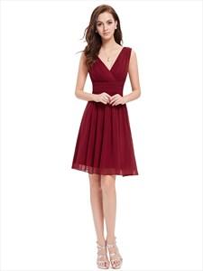 Burgundy Chiffon V-Neck Sleeveless Knee Length Bridesmaid Dresses