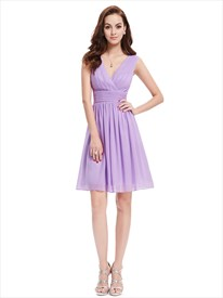 Lilac Chiffon V Neck Knee Length Bridesmaid Dresses For Outside Weddings