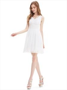 Elegant Ivory V Neck Chiffon Knee Length Ruched Bridesmaid Dresses