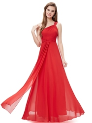 Red Flowy One Shoulder Chiffon Bridesmaid Dresses With Beaded Straps