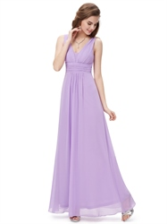 Lilac V Neck Sleeveless Chiffon Bridesmaid Dresses For Spring Wedding