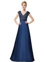 Navy Blue Sleeveless V Neck Sequin Bodice Evening Dress With Cap Sleeves