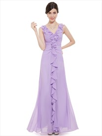 Lilac Chiffon V Neck Sheath Bridesmaid Dresses With Cascading Ruffle