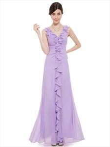 Lilac Chiffon V Neck Sheath Bridesmaid Dresses With Cascading Ruffle
