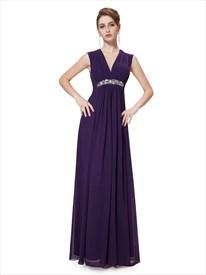 Grape V-Neck Chiffon Sleeveless Bridesmaid Dresses With Beaded Waistband