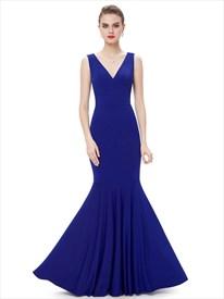 Elegant Royal Blue Mermaid V Neck Sleeveless Floor Length Evening Gown