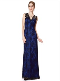 Royal Blue And Black V Neck Lace Overlay Prom Dresses With Keyhole Back