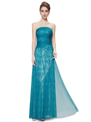 Teal Strapless Lace Sheath Floor Length Prom Dress With Tulle Overlay