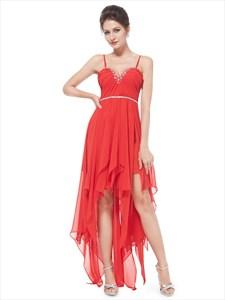 Red Spaghetti Strap Chiffon High Low Ruffle Prom Dress With Beading