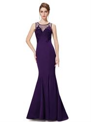 Purple Mermaid Illusion Neckline Prom Dresses With Floral Applique