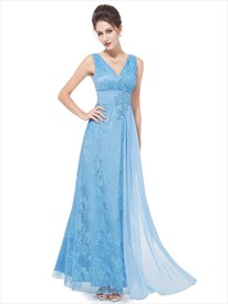 Flowy Light Blue Lace V Neck Full Length Prom Dress With Applique Detail
