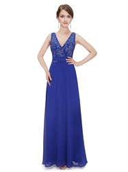 Royal Blue V Neck Chiffon Prom Dress With Lace Embellished Bodice