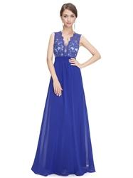 Royal Blue Lace Bodice Sleeveless Chiffon Prom Dress With Sheer Back