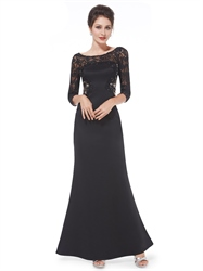 Black Lace Top Mermaid Mother Of The Bride Dresses With 3/4 Sleeves