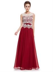 Burgundy Sheer Illusion Neckline Lace Bodice Chiffon Prom Dress